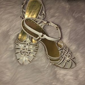 8B BCBG white sandals